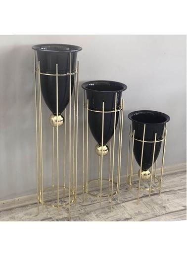 Fly Mobilya Rila Altın-Siyah Parlak Büyük Boy Saksı-Vazo 90 Cm Altın